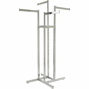 Econoco Adjustable 4 way Rack With Straight Arms Chrome 48in 72inh Model K85