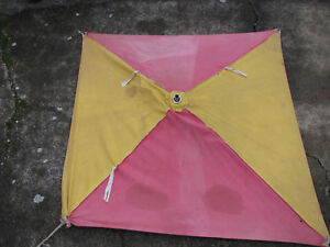 1940s Tractor Umbrella W Frame Massey Harris Red Yellow Vintage