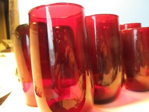 Rare Antique Cranberry Blown Red Class Set Of 10 Drinking Glasses