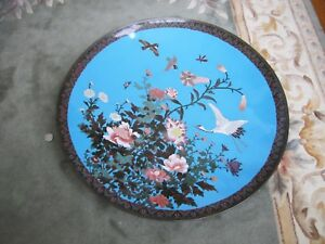 Antique Late 19th C Chinese Large 24 Cloisonn Bronze Enamel Flower Bird Plate