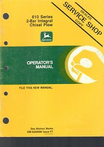 John Deere Operator s Manual 610 2 bar Integral Chisel Plow 34 Pages