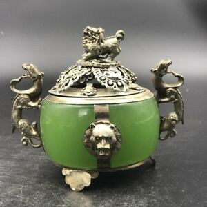 Chinese Antique Jade Incense Burner Outsourcing Tibetan Silver Carving Lion Head