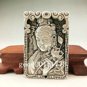 Chinese Ancient Tibetan Silver Pendant Hand Carved Buddha Statue