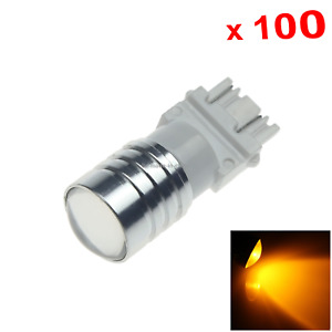 100x Yellow Rv 3157 Brake Blub Camper Lamp 1 Emitters Cree Led 4157 W2 5q F013