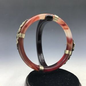 Chinese Antique Natural Agate Bracelet Outsourcing Tibetan Silver Carving Dragon