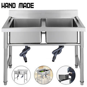 2 Compartment Stainless Steel Kitchen Sink Commercial Bar Sink W backsplash