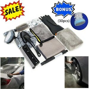 Car Wash Cleaning Kit Brush Dust Duster Cleaner Microfiber Drying Towel Sponge
