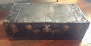 Vintage Black Steamer Footlocker Foot Locker Storage Chest Box Trunk With Tray