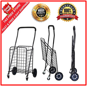 Heavy Duty Utility Shopping Cart With Rolling Swivel Wheels Comfortable Grip