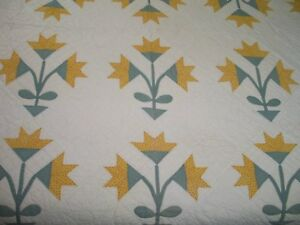 Antique Quilt Carolina Lily C1800s Hand Quilted Applique Cheddar Yellow Provenan