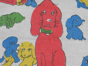 Darling Vtg Mid Century Childs Handkerchief Hanky Printed Charming Puppy Dogs
