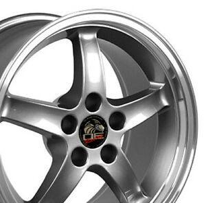 17 Gunmetal Cobra Style Wheels Set Of 4 17x9 Rims Fits 94 04 Mustang Gt