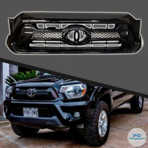 Fits For 2012 2015 Toyota Tacoma Front Grill Factory Style Gloss Black Grille