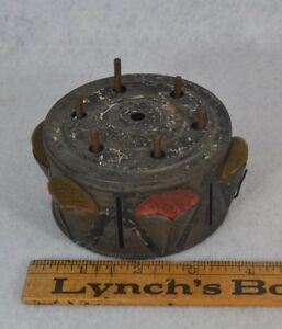 Sewing Thread Case Dispenser Box Tin Velvet Pin Cushions Antique Rare 1800s