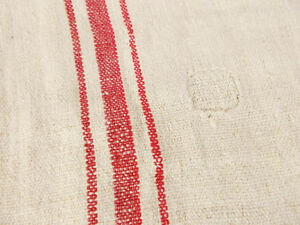 Vtg Antique Red Stripe Hemp Linen Rustic French Fabric Feed Sack Grain Bag 21x55