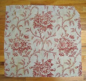 Antique Beautiful 19th C French Engraved Cotton Floral Toile 9994