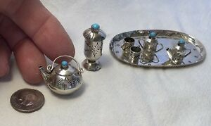 Miniature Sterling Silver Turquoise Dollhouse 11 Pc Tea Set Navajo Signed E M W