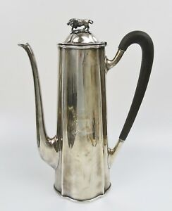 1922 Antique Shreve Crump Low Sterling Silver Chocolate Pot W Bull Finial