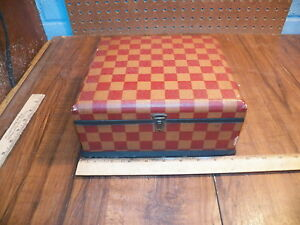 Vintage Checkerboard Wood Dresser Box