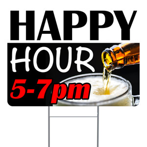 Happy Hour 18x24 Inch Sign With Display Options