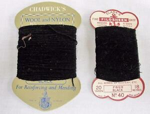 2 X Vintage 1940 S Stocking Hosiery Repair Cotton Nylon Thread On Card Winders