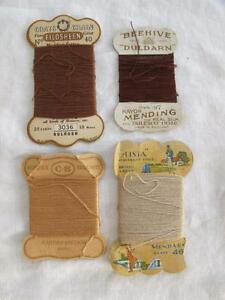 4 X Vintage 1930 S Various Stocking Hosiery Repair Nylon Thread On Card Winders