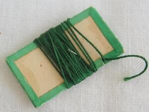 Antique Victorian Silk Thread Winder Rectangular Green Cream Card C1840 S