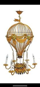 Large Vintage Italian Tole Hot Air Balloon Chandelier
