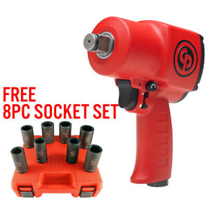 Chicago Pneumatic 7762 3 4 Dr Stubby Impact Wrench W Free 8pc Socket Set