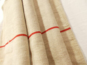Vtg Antique Red Stripe Rustic French Hemp Linen Fabric Feed Sack Grain Bag 21x50