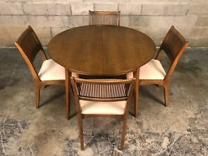 Drexel Profile Mid Century Modern Dining Table W 6 Chairs 3 Extensions Pads