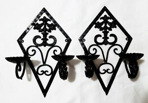 Pair Vintage Wrought Iron Wall Sconce Candle Holders