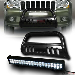 Blk Bull Bar Grille Guard 120w Cree Led Fog Lights For 08 10 Jeep Grand Cherokee