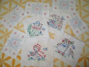 9 Darling Antique Vintage Hand Embroider Quilt Blocks Cotton Nursery Rhyme