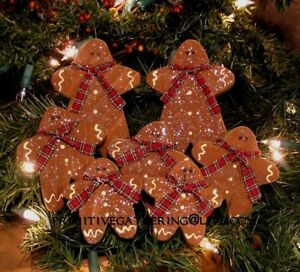 7 Primitive Folk Art Gingerbread Christmas Wood Ornaments Ornies Tuck