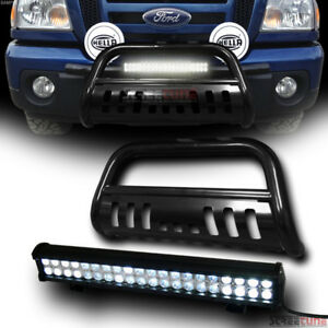 Black Bull Bar Push Brush Bumper Guard 120w Cree Led Fog Light 98 11 Ford Ranger