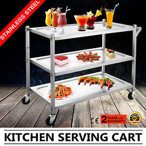 3 Tier Stainless Steel Catering Cart Shelf W handle 3 Shelves 17x35 plate Good