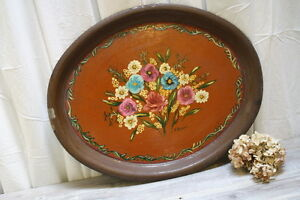 Toleware Tray Vintage Autumn Shade Hand Painted Floral Oval Signed Harvest Decor