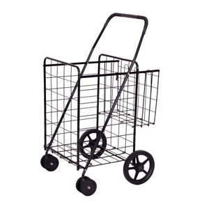 Folding Shopping Cart Jumbo Basket Grocery Laundry Travel With Swivel Wheel Cart