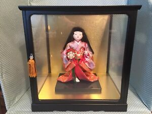 Vintage Japanese Ichimatsu Gofun Geisha Doll With Porcelain Head In Glass Case