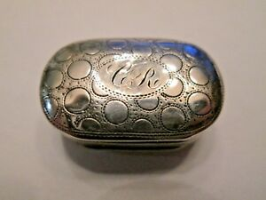 Antique Georgian 1812 John Shaw Birmingham Oval Sterling Silver Vinaigrette