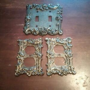 Set Of 3 Vintage American Tack Hardware Brass Light Duplex Outlet Cover Plates
