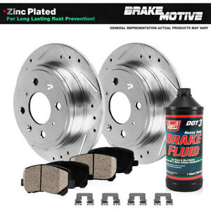 Rear Drilled Slotted Brake Rotors And Ceramic Pads For Acura Cl Honda Accord