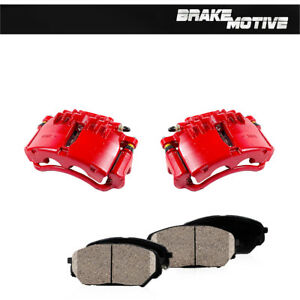 Front Red Brake Calipers And Pads For 1999 2000 2001 2002 Ford Mustang Base Gt