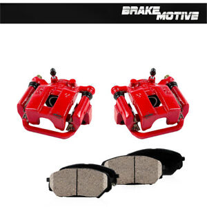 Rear Red Brake Calipers And Ceramic Pads Pair For Nissan Quest Murano G35 350z