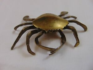 Antique Brass Crab Ashtray Or Trinket Tray 1950s 1960s Used Condition