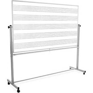 Double Sided Music Staff Magnetic Whiteboard 72 w X 48 h With Rolling Stand