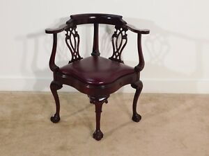 Antique Vintage Chippendale Leathercraft Mahogany Chippendale Corner Chair
