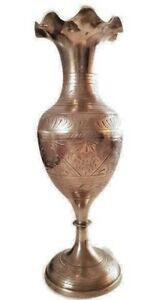 Antique Vintage Attuman Arts And Crafts Hammered Pewter Brass And Copper Vase