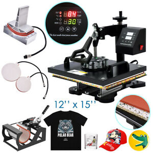 12 x15 Heat Press Machine Swing Away Digital Sublimation T shirt Mug Plate Hat